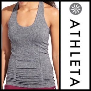 Athleta Fast Track Ruched Racerback Tank Top Gray